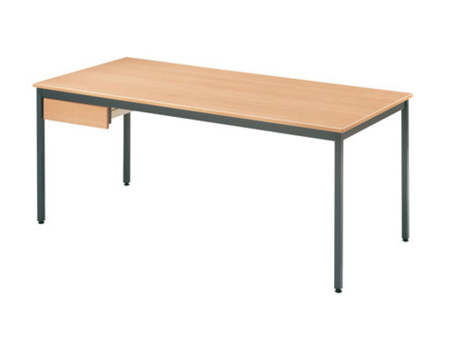 table rectangulaire x mm h tre et anthracite contact setam rayonnage et mobilier. Black Bedroom Furniture Sets. Home Design Ideas