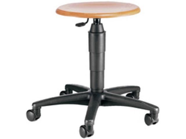 prix compétitif 52f31 2ec00 Tabouret pivotant assise en bois avec roulette hauteur 420-550mm