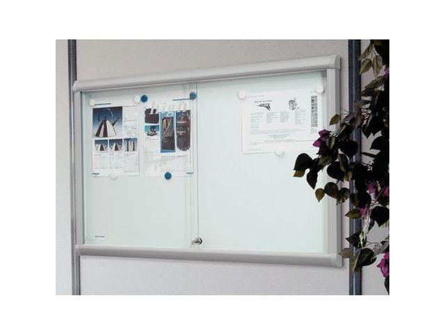vitrine d'intérieur portes coulissantes leader - fond aluminium