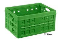bac de rangement plastique pliable avec poign e vert 24 litres contact rangestock. Black Bedroom Furniture Sets. Home Design Ideas