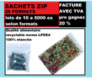 lot de 3000  Sachet 40 x 60 mm fermeture ZIP Transparent 50u