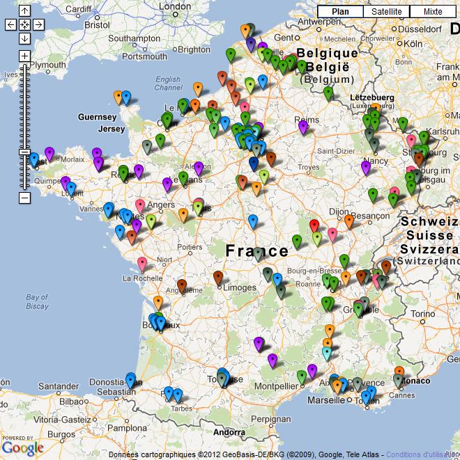 Carte des 200 usines de France