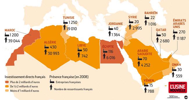 L'industrie française dans un monde arabe en crise - Carte