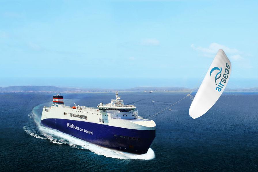Létonnante aile géante dairbus pour tracter les bateaux lusine aéro