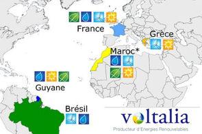 Outre la France et notamment la Guyane, Voltalia est également présent au Brésil, en Grèce et au Maroc où il dispose d'une filiale VoltaMaroc depuis avril 2015.