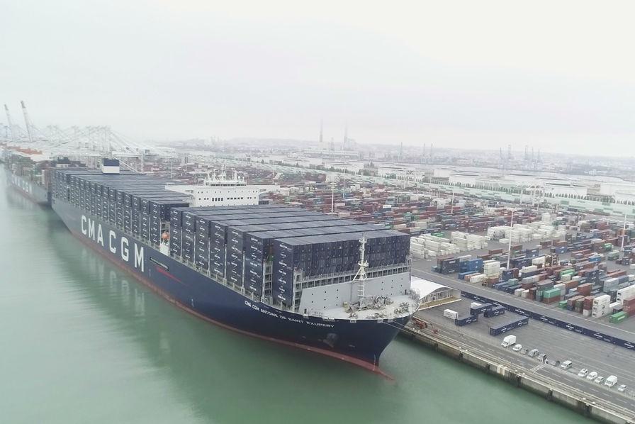 Vid o dans le port du havre cma cgm baptise le plus gros porte conteneurs fran ais maritime - Le plus gros porte conteneur ...