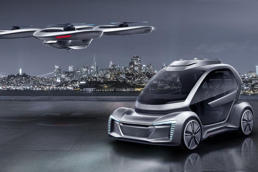 vid o audi appose ses anneaux sur la voiture volante pop up d airbus l 39 usine auto. Black Bedroom Furniture Sets. Home Design Ideas