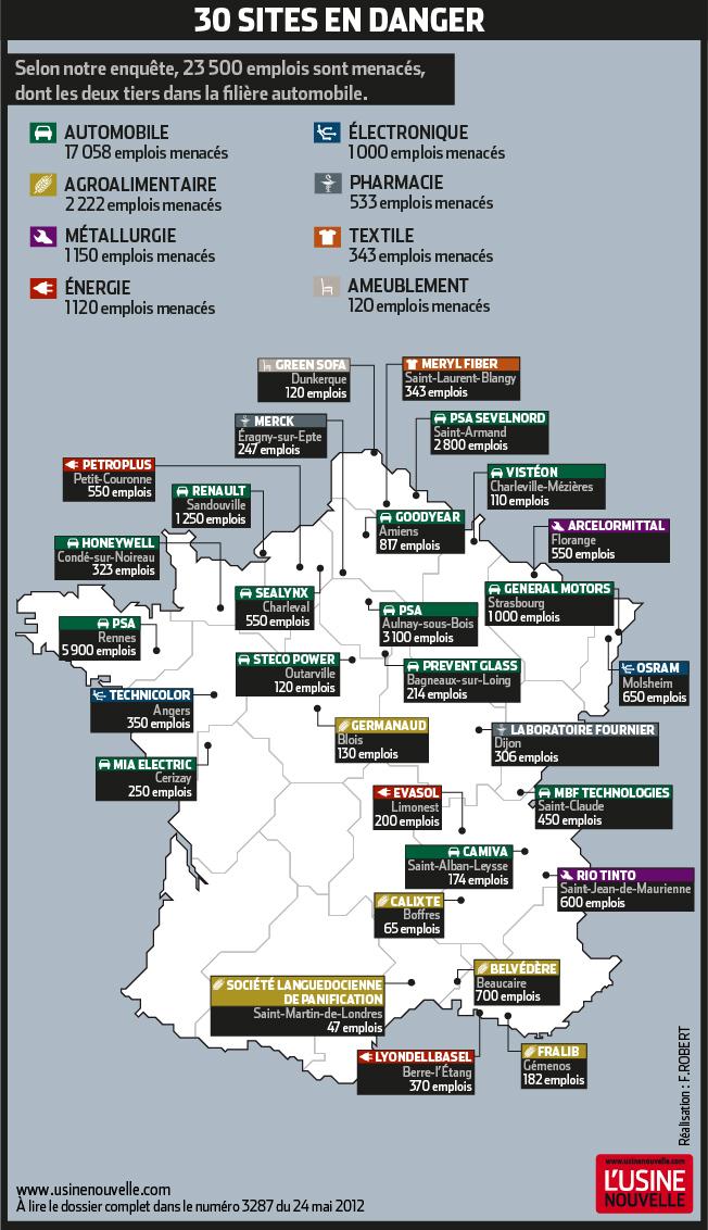 La carte de france des 30 sites industriels en danger economie - Usine imerys en france ...
