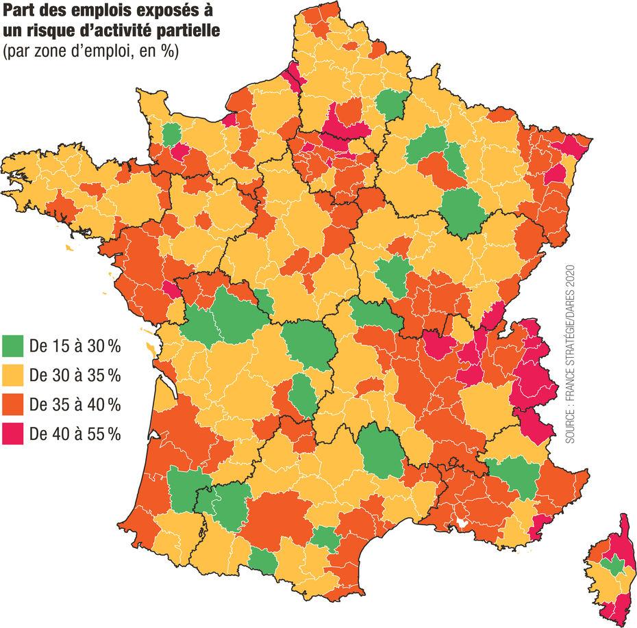 Carte Les Territoires Industriels Les Plus A L Arret En France Durant La Crise Du Covid 19 Economie Social