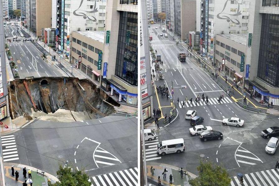 Le trou géant d'une route rebouché en moins de sept jours — Japon