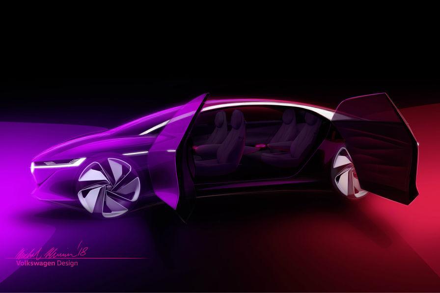 [En images] Avec l'ID Vizzion, Volkswagen dévoile un concept-car de berline de luxe électrique