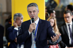 Amazon France Director Frederic Duval speaks during the visit of French President Emmanuel Macron at the Amazon factory in Boves